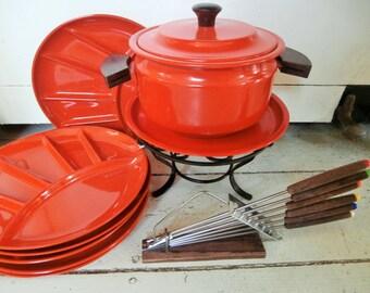 Vintage, 17 Piece Fondue Set, Red/Orange Metal and Plastic