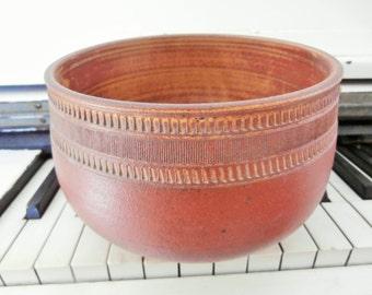 Vintage, Japanese, Shino Glaze, Red, Stoneware, Pottery Bowl