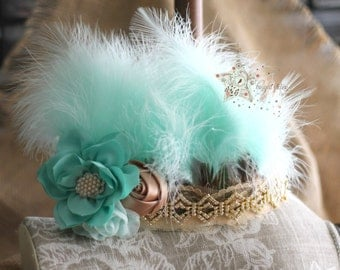 Feather head piece - couture headband - Gold feather headband - feather hair band - embellished headband - feather head band - feather crown