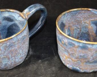 Blue amd  purple coffee mugs - set of 2