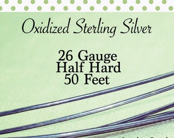 10% OFF! Oxidized Sterling Silver 26 Gauge ga g 50 FEET Half Hard ROUND Recycled Silver