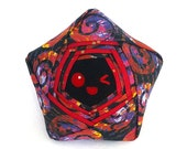 Red Swirl Star Plush – One of a Kind Origami Handmade Star Plush – Reclaimed Upcycled Fabric Unique Stuffed Toy