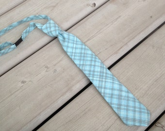 Teal and Brown Plaid Adjustable Neck Tie/ Necktie for Toddlers and Boys