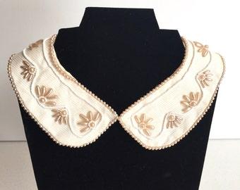 Vintage Pearl Collar Made in Japan | Beaded Collar / Pearl Collar Necklace / Peach Pearl and Gray Bead Collar / Vintage Satin / Wedding