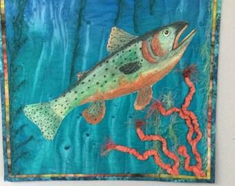 Fiber Art Trout, Trout wallhanging, Art wallhanging, Quilted Wallhanging, Wall Art, Quilted Trout.