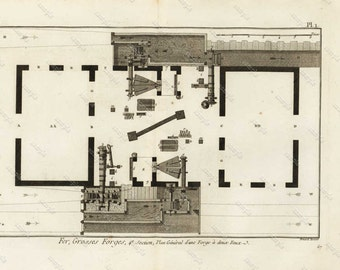 DIDEROT / PANCOUCKE  Original From the first Edition - Detailed copper engraved  Big Iron Forges Plan General Merchandise in Dun Furnace