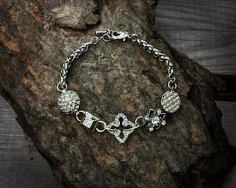 Upcycled Jewelry Bracelet - Repurposed Jewelry - Silver Bracelet