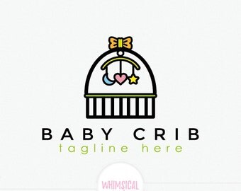 Baby crib icon logo