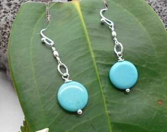 Turquoise Earrings, Turquoise Magnesite Silver Dangle Earrings - Dangle Earrings, Good Luck, Southwest, Dainty, Blue Earrings