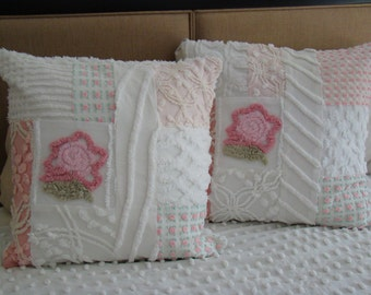 "REDUCED PRICE-Pink And White Patchwork Pillow Cover With Flower for 18"" Pillow Insert Was 35.00 Now 25.00"