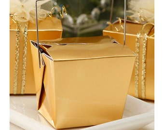 Metallic gold Chinese take out boxes, paper food boxes, noodle favor boxes, wedding gift boxes, candy party packaging, gold party favors