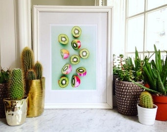 Painted Kiwi art print. kitchen photography. kitchen art print. fruit kitchen art.