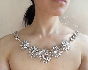 Victorian Flowers Wedding Swarovski Rhinestone Crystals Bridal Shoulder Necklace, Pearls Necklace, Wedding Neckalce, Bridal Necklace, Prom