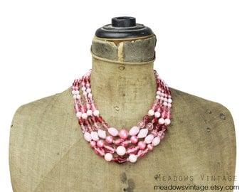 Pink Glass Bead Necklace, Pink Multi Strand Necklace, Pink Bead Necklace, Vintage Pink Necklace