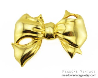 Vintage Chunky Gold Bow Brooch, Large Gold Bow Pin