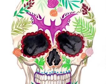 Sugar Skull Watercolor Painting Print