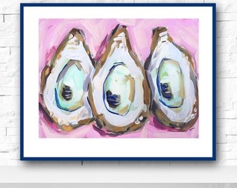Oyster print, oyster art, wall art, coastal, oyster shell, canvas
