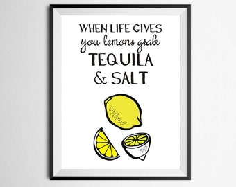 Tequila  Art print, Kitchen Decor, Black and White Art, funny home print, Silly Print