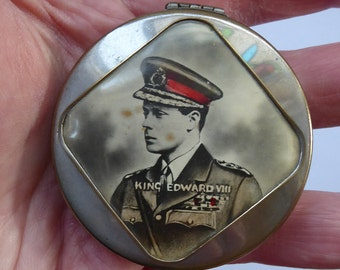 Royal Commemorative: 1930s Miniature Chrome Powder Compact with Image of King Edward VIII