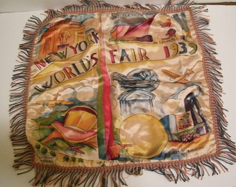 1939 New York World's Fair Colorful Deco Pillow Cover Airplane Trilon