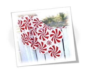 Peppermint Swirl Mosaic Crochet Afghan Blanket Throw Lap Robe (Made-to-Order)