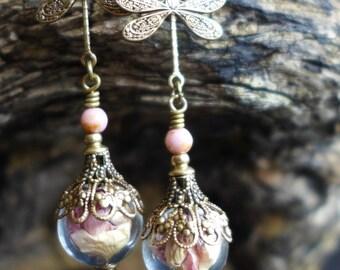 Dried Flower Earrings, Victorian Style Earrings, Wild Rose Earrings, Dangle Earrings, Vintage Style Earrings, Glass Orb Earrings, Dragonfly