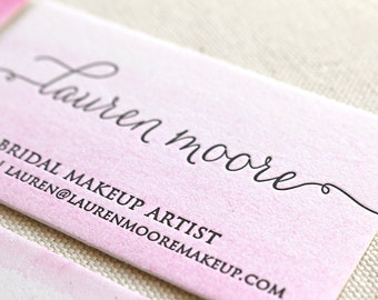 ADD-ON - Watercolor for Business Cards, Letterpress, Hand painted, pink, green, blue, purple, yellow, orange