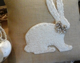 Easter Bunny Appliqued Burlap Pillow Cover