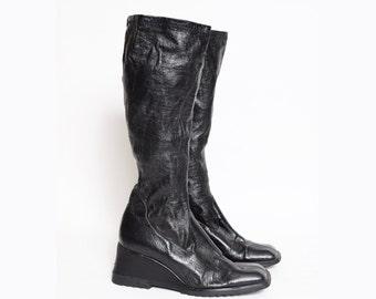 Vintage 90's Black Faux Leather Sock Boots
