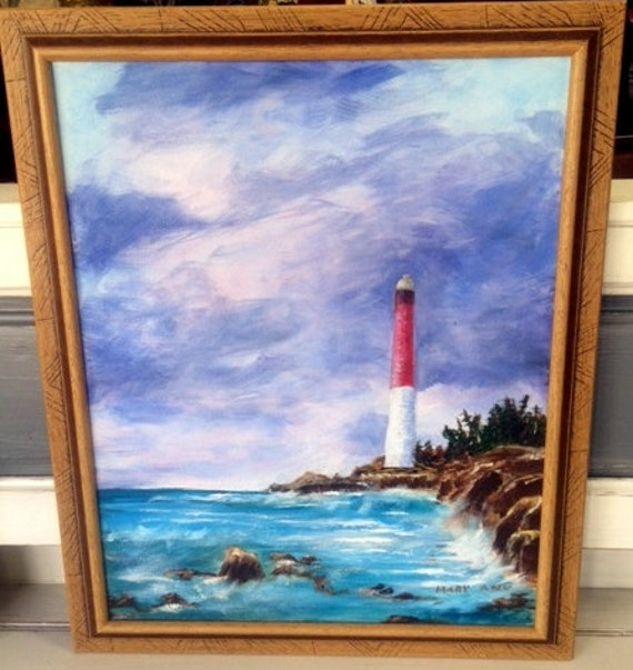 Barnegat Lighthouse Painting framed oil painting