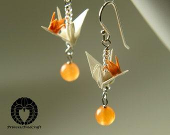 Origami earrings, Origami mum and baby crane earrings with jade gemstone - white mum and orange baby