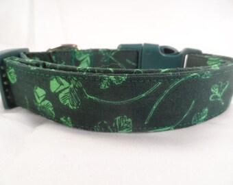 Dog Collar St. Patrick's Day Bright Green Shamrocks on Dark Green