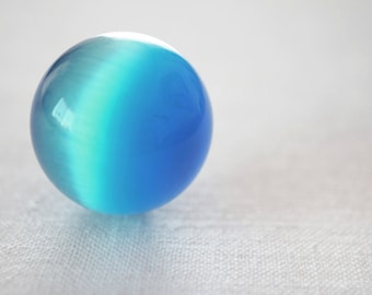 Big Glass Marble, Light Blue Vintage Marble, Fiber Optic Stone Sphere, Large Cats Eye Marble, Collectors Marble, Colorful Ball 25mm