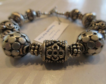 "Handmade For You 7 - 7 1/2"" India Indian Inspired Indonesia Silver Bali Bead Beaded Bracelet Tibetan Silver Toggle Clasp B98"