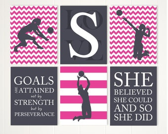 Volleyball Wall Art, Girl Volleyball Player, Volleyball Room Decor, Girls  Quote Art,