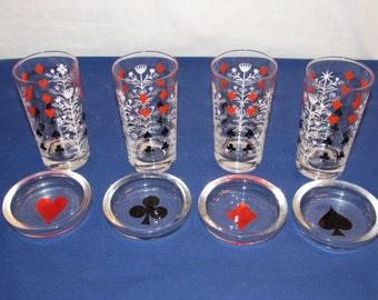 BRIDGE GLASSWARE Card Suit 4 Glasses and 4 Coasters/Ashtrays