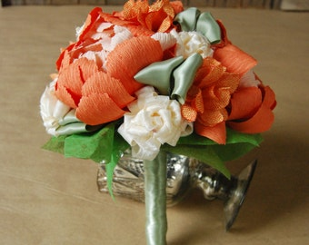 Paper & Fabric Bouquet - Paper flowers, Fabric flowers, Wedding bouquet