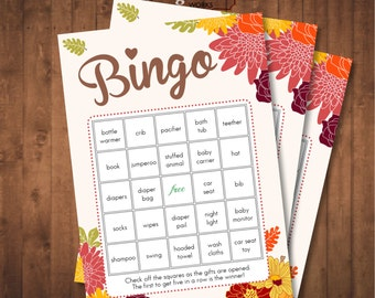 Fall in Love Baby Shower Bingo Game. Digital Printable. 30 different prefilled pages