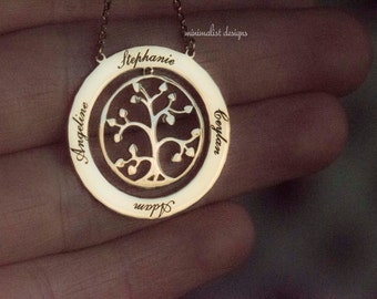Tree of Life Necklace, Family Tree Necklace, Sterling Silver, Mothers Necklace, Mothers Day Necklace, Grandmother Gift, Christmas Gift