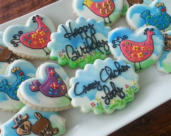 Whimsical Chicken and Goat Birthday Cookies