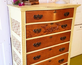 Ornate Oak Dresser with 6 drawers