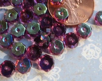 Dark Amethyst with half Aurora Borealis Coating Faceted Flat Rondelle Czech Beads, 50 Beads - Item 3635