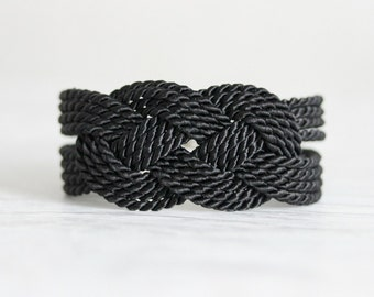 Black Knot Bracelet, Knot Bracelet, Rope Bracelet, Black Sailor Knot Bracelet, Black Nautical Bracelet, Nautical Bracelet,Nautical Knot