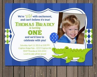 Alligator Birthday Invitation, Alligator 1st Birthday Invitation, Preppy Birthday Party Invite, Blue and Green, Boy 1st Birthday