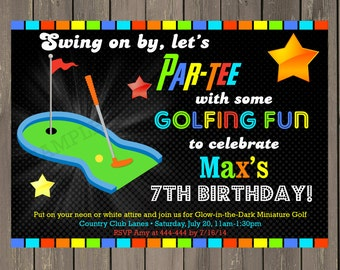 Miniature Golf Invitation, Golf Birthday Party Invitation, Neon Miniature Golf invite, Putt Putt Party, Printable or Printed