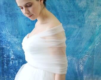 Simple Tulle Wedding Bridal Wrap Cape Shawl