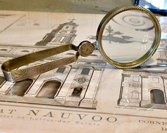 Antiqued Magnifying Glass