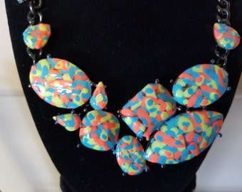 Hand Painted Bib Necklace in Gorgeous Colors