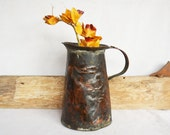 Vintage Copper Pitcher, Hammered Copper Water Pitcher, Handmade Primitive Copper Farmhouse Pitcher, Rustic Metal Serving Pitcher