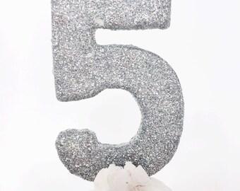Silver glitter  #5 birthday candle- fine glitter